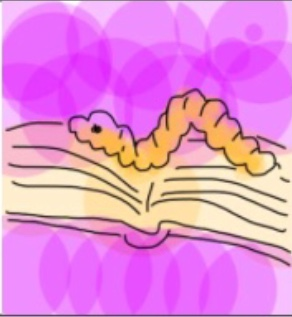 a drawing of an open book on a pink background with a little yellow worm moving across the book's pages